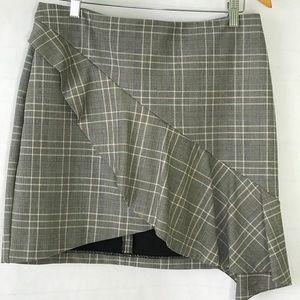 H&M Plaid Grey Plaid Asymmetric Ruffle Skirt